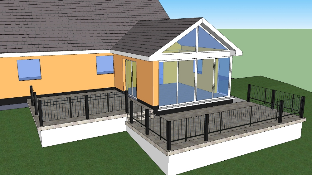 Bungalow extension patio mathieu mitchell ltd for Small room extension